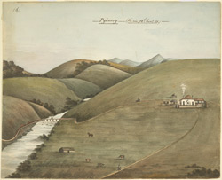 Pykarry, near Ootacamund.  Rolling downs with river and bridge on the left and bungalow with English figures on the right; cattle grazing in foreground. 12 November 1851